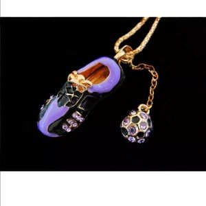 Jewelry - Purple Crystal Soccer Ball and Shoe Necklace